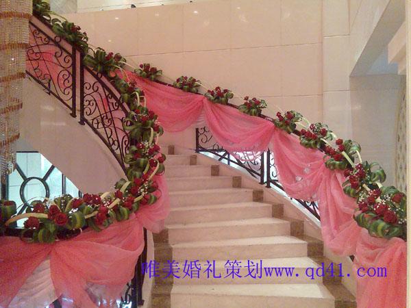 楼梯纱幔的布置教程图片 楼梯扶手怎样布置纱幔,楼梯纱幔花